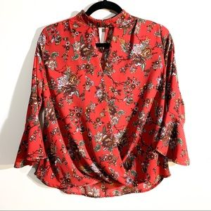 Monteau Los Angeles Red Floral Bell Sleeve Top